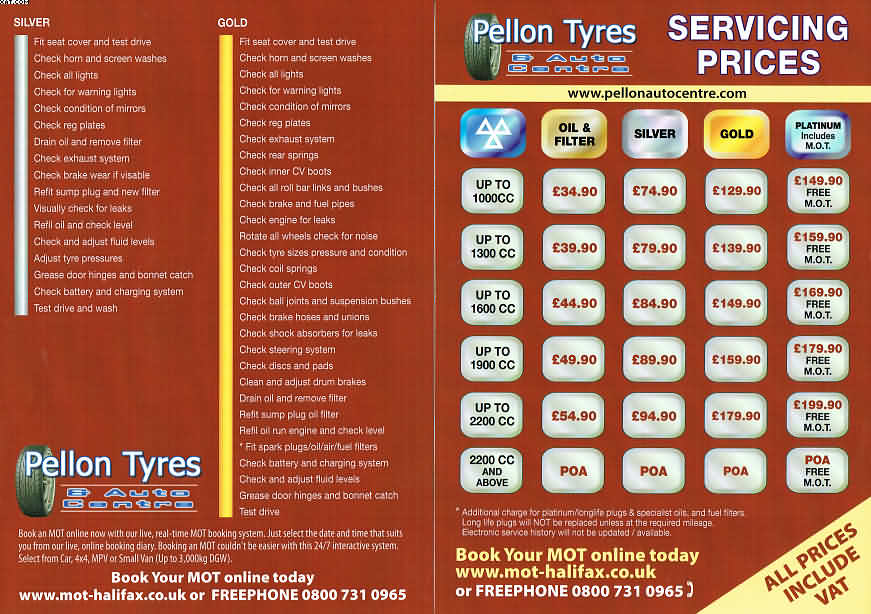 Servicing Price List